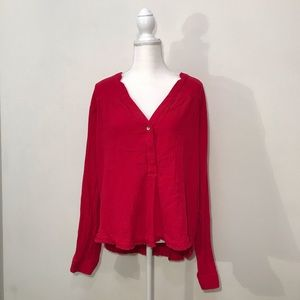 Free People Pink Long Sleeve Button Up Top Medium
